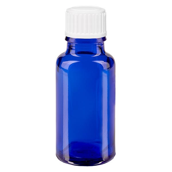 Blauwe glazen flessen 20ml met wit schroefsluiting globuli uitgietring St