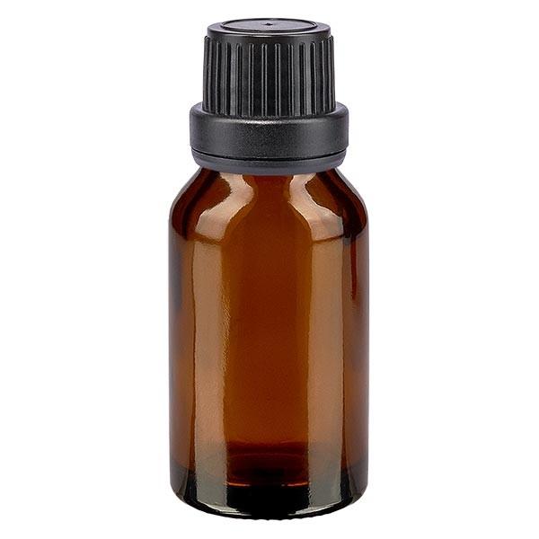 Bruine glazen fles 30ml met zwart schroefsluiting dicht. VR