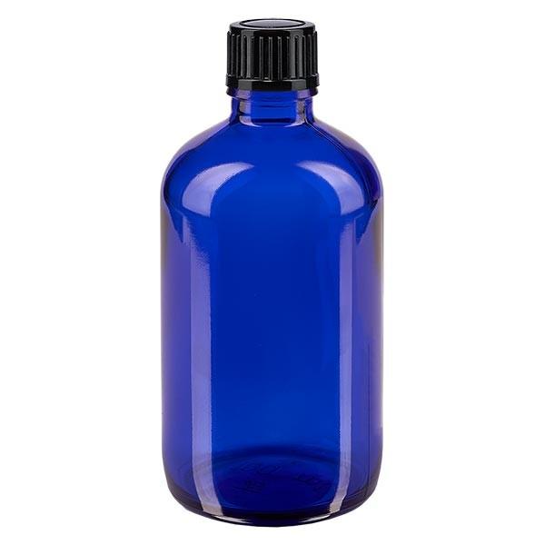 Blauwe glazen flessen 100ml met zwart druppelsluiting 1mm St