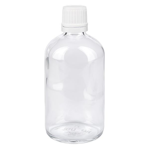 Helder glazen flessen 100ml met wit schroefsluiting VR