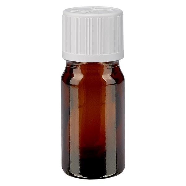 Bruine glazen fles 5ml met wit druppelsluiting kinderslot St