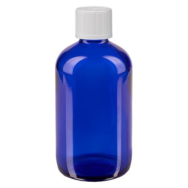 Blauwe glazen flessen 100ml met wit druppelsluiting kinderslot St