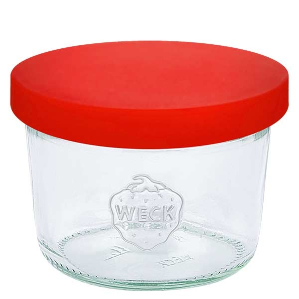 WECK-stortglas 80ml met rood siliconenhoes