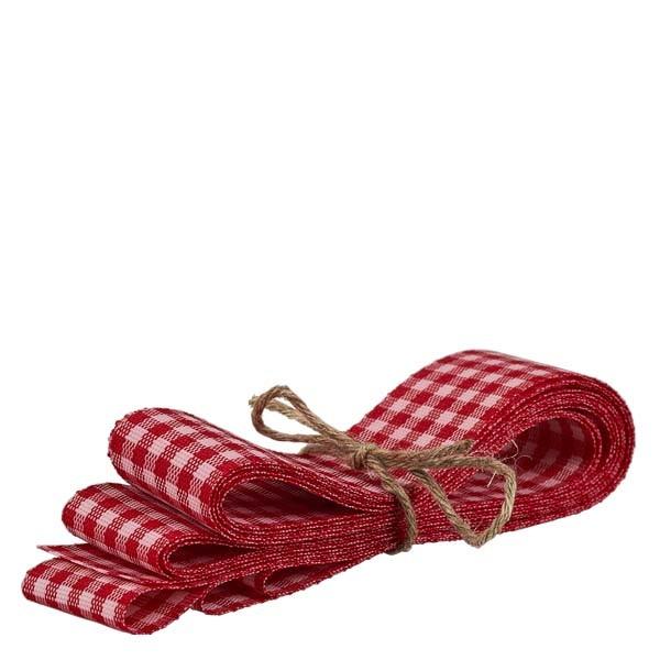 Stoffenband rood/wit 25mm breed - 3m lang - voor het decoreren van glazen