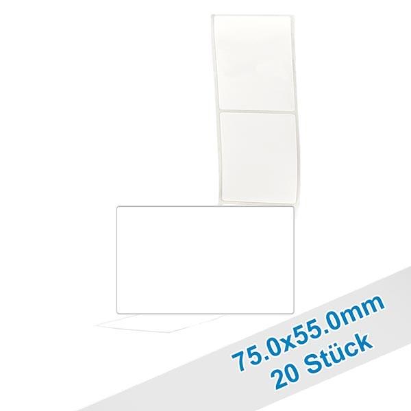 20 etiketten, wit, verwijderbaar 55x75mm