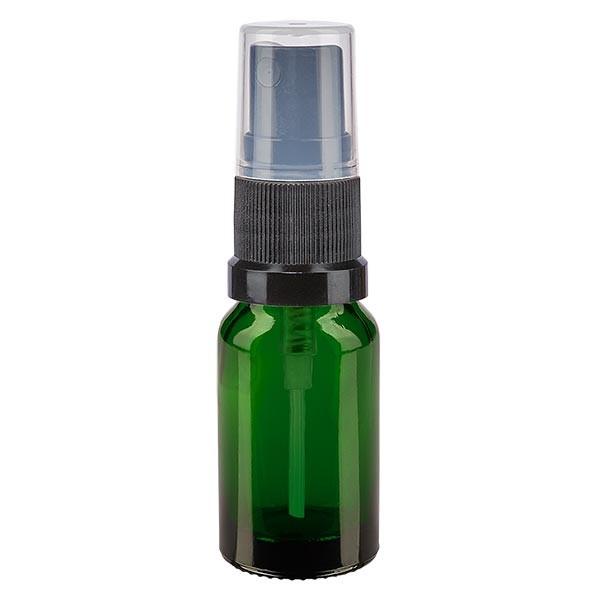 Groenen glazen flessen 10ml met zwart pompverstuiver