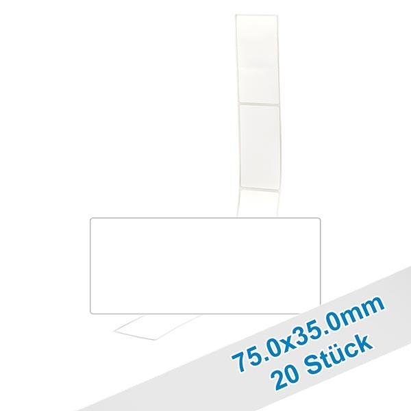 20 etiketten, wit, verwijderbaar 75x35mm