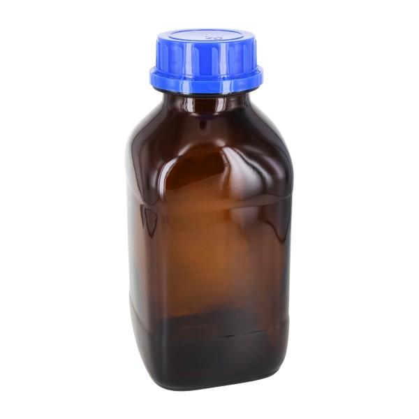 1000 ml vierkante fles met wijde hals bruin glas, incl. schroefsluiting VR DIN54 blauw met cone afdichting