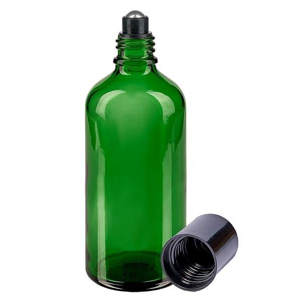 Glas deostick fles groen 100ml, lege deo roller (Roll On)