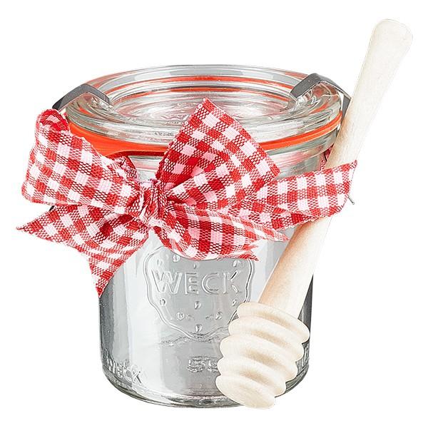 WECK-mini stortglas 140ml compleet met honinglepel en strik