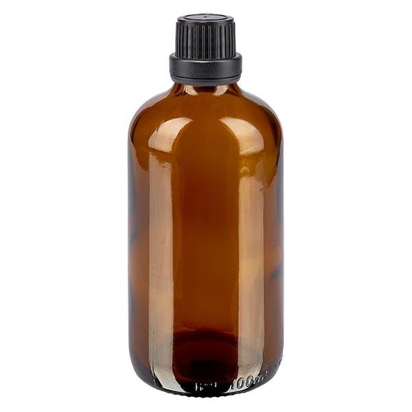 Bruine glazen fles 100ml met zwart schroefsluiting dicht. VR
