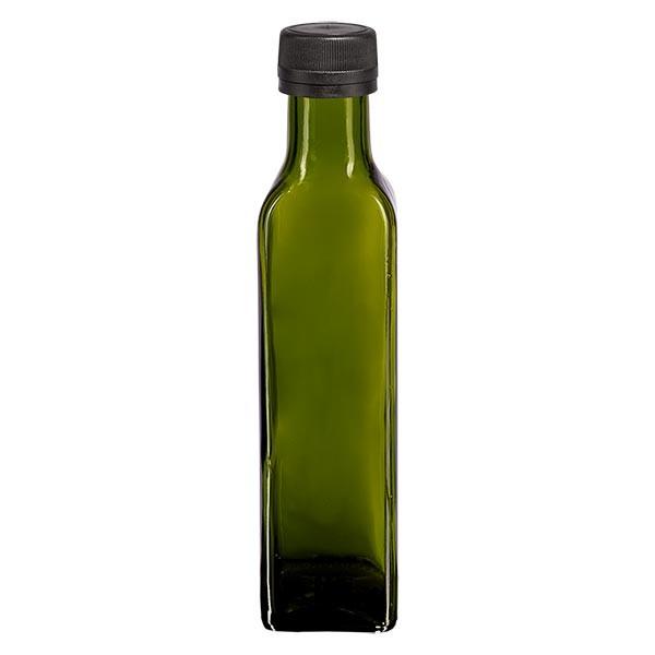250 ml likeurfles hoekig olijfgroen glas incl. schroefsluiting zwart (PP 31,5 mm) met uitgietring met garantiesluiting (OV)