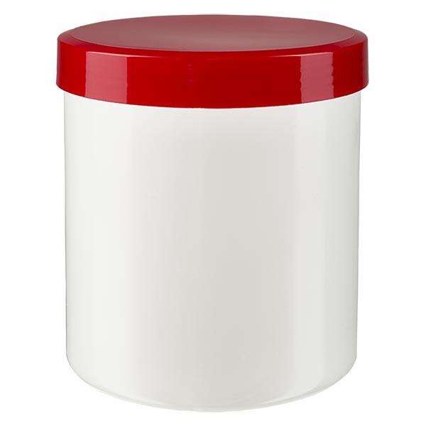 Zalfpot 50 g wit met rood schroefdeksel (PP)