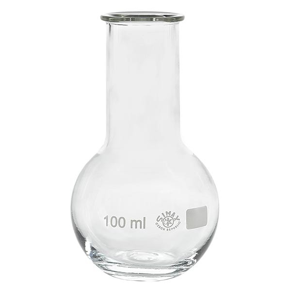 Platbodem kolf 100ml wijde hals borosilicaat met afgeronde rand