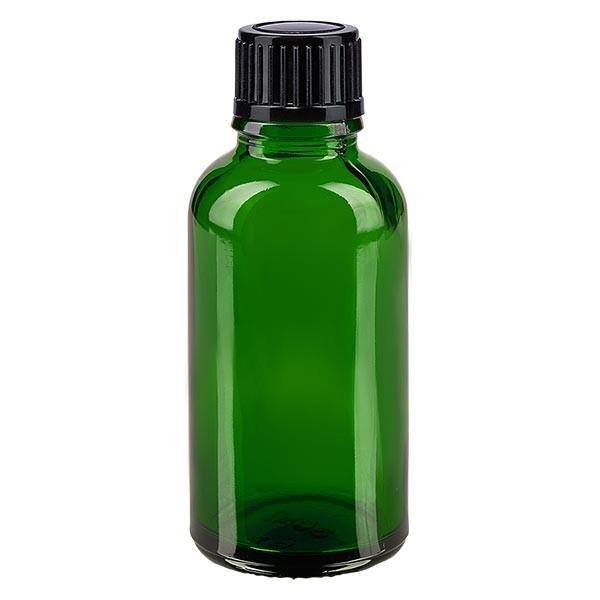Groenen glazen flessen 30ml met zwart druppelsluiting 1mm St