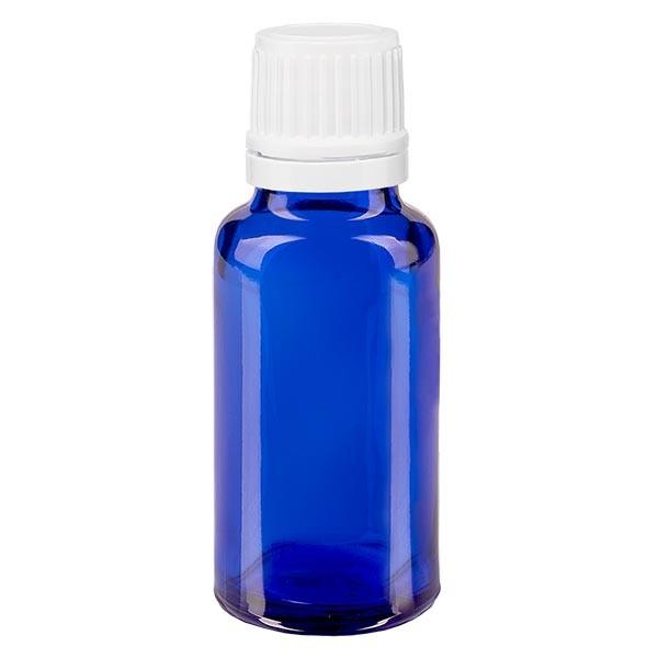 Blauwe glazen flessen 20ml met wit druppelsluiting 1.2mm VR