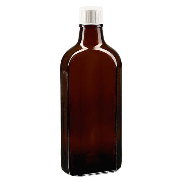 200 ml bruine meplatfles met DIN 22 monding, inclusief schroefsluiting DIN 22 wit met PE-schuiminzetstuk
