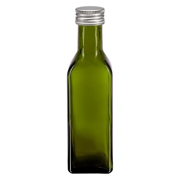 100 ml oliefles hoekig olijfgroen incl. aluminium schroefsluiting zilver (PP 24mm)