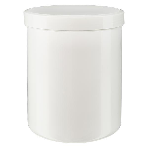 Zalfpot 1000g wit met schroefdeksel wit (PP)