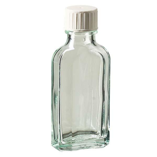 50 ml witte meplatfles met DIN 22 monding, inclusief schroefsluiting DIN 22 wit met gietring