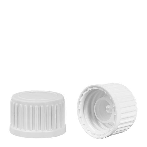 Schroefsluiting met Globuli uitgietring wit 18 mm st