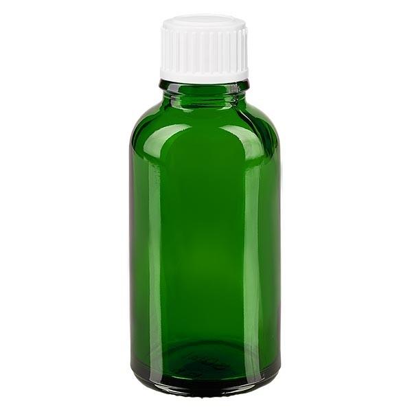 Groenen glazen flessen 30ml met wit schroefsluiting globuli uitgietring St