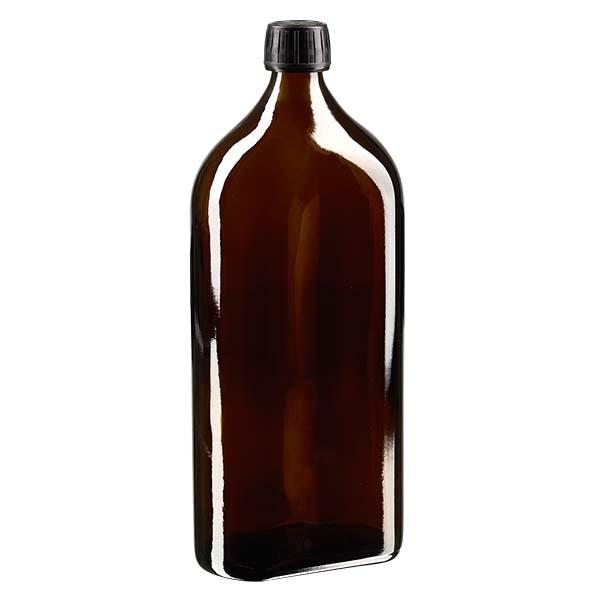 1000 ml bruine meplatfles met PP 28 monding, inclusief schroefsluiting DIN 22 zwart van EPE