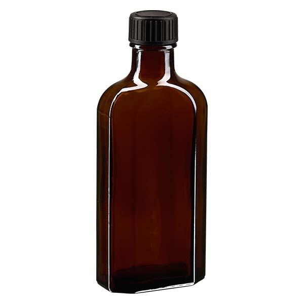 125 ml bruine meplatfles met DIN 22 monding, inclusief schroefsluiting DIN 22 zwart van EPE