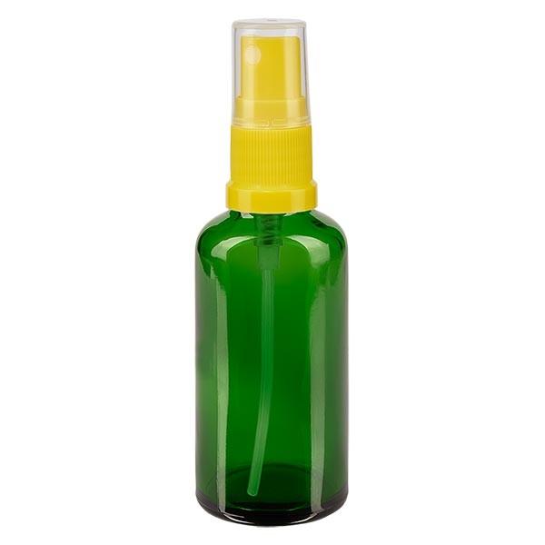 Groenen glazen flessen 50ml met geel pompverstuiver