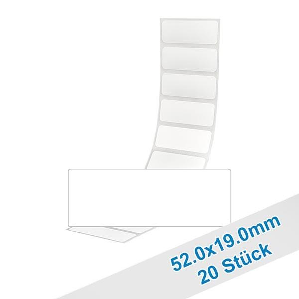20 etiketten, wit, verwijderbaar 52x19mm