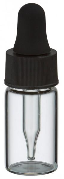 Mini pipetfles 3ml helder, schroefdraad M13 met druppelpipet PL28 zwart/zwart