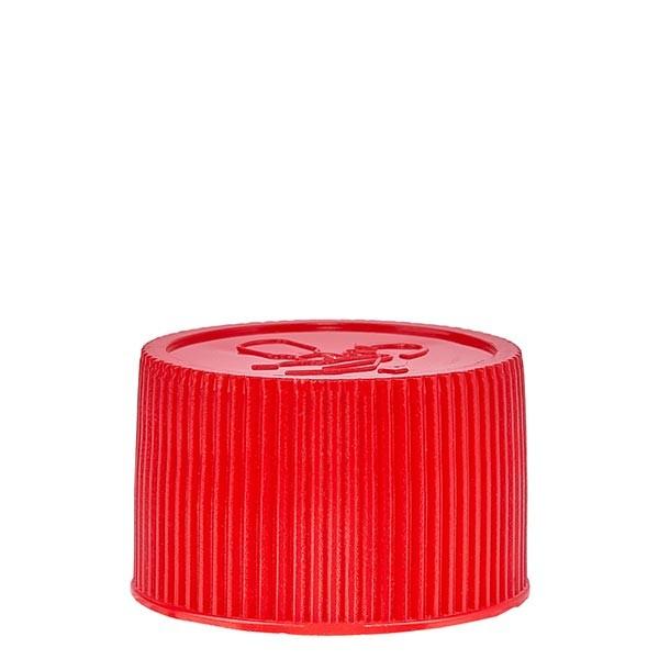 Schroefsluiting 25 mm rood PP met kinderslot