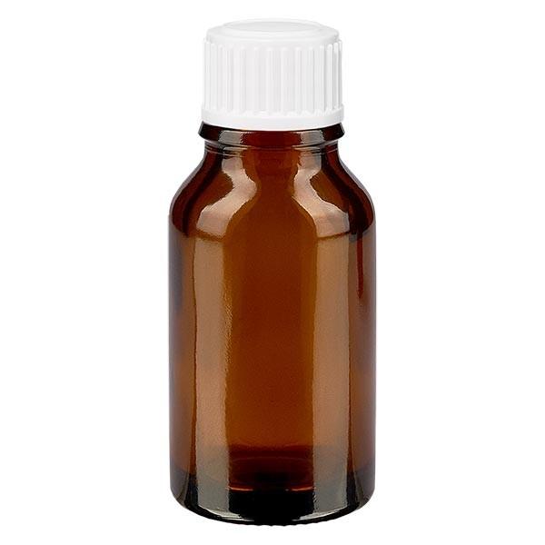 Bruine glazen fles 15ml met wit schroefsluiting globuli uitgietring St