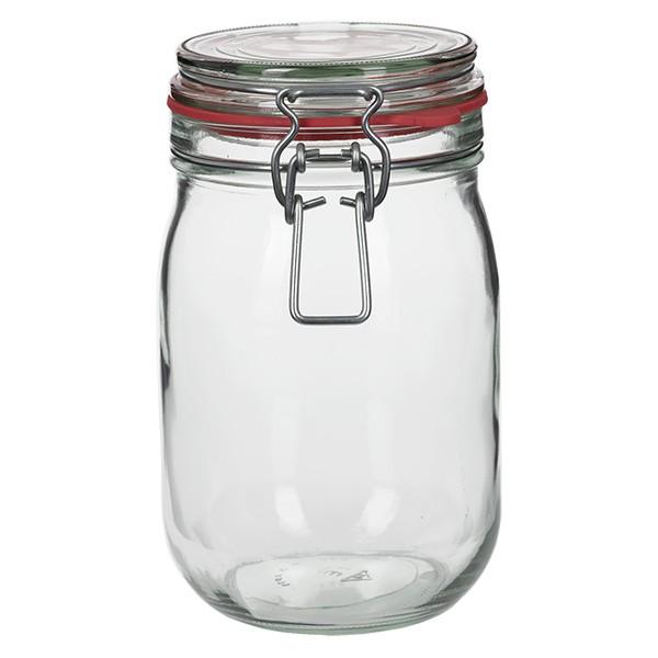 1140 ml glas met draadbeugel / spanbeugelglas rond, geschikt voor pasteurisatie