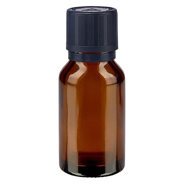 Bruine glazen fles 30ml met zwart druppelsluiting 1mm kinderslot bliw. VR
