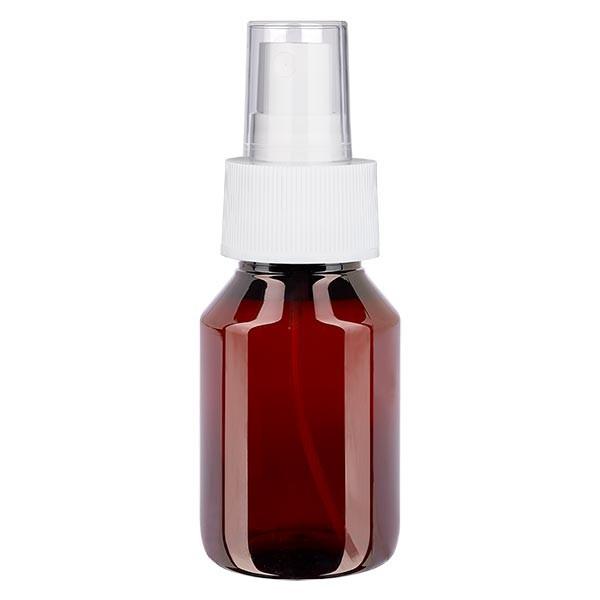 50 ml PET medicijnfles met verstuiver wit GCMI 28/410 incl. dop transparant, standaard