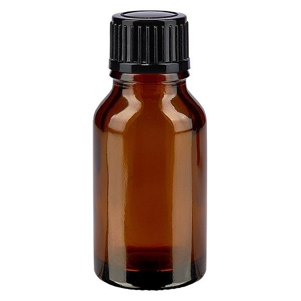 Bruine glazen fles 15ml met zwart druppelsluiting 1mm St