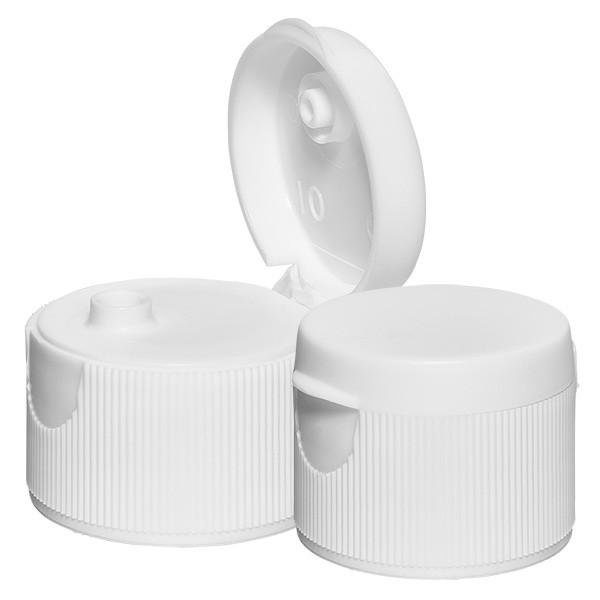 Schroefsluiting met klapdeksel, druppelaar, wit, 28 mm