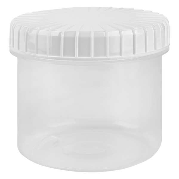 Kunststof pot 135ml transparant met geribbeld wit schroefdeksel van PE, type sluiting standaard