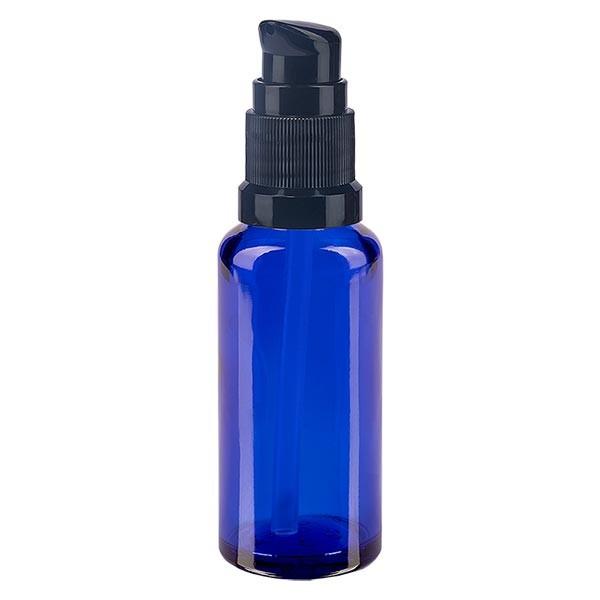 Blauwe glazen flessen 30ml met zwart pompsluiting