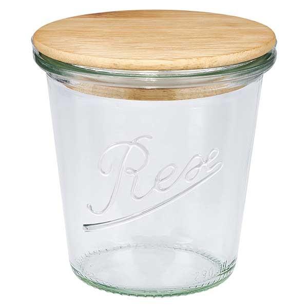 REX-stortglas 290ml (1/5 liter) met hout deksel