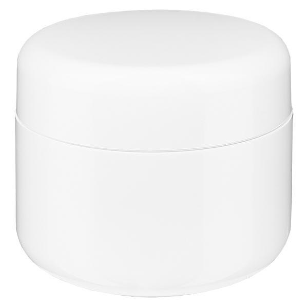 Crèmepot 'Softline' wit 15ml met schroefdop en afdekplaatje