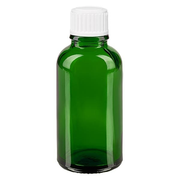 Groenen glazen flessen 30ml met wit schroefsluiting St