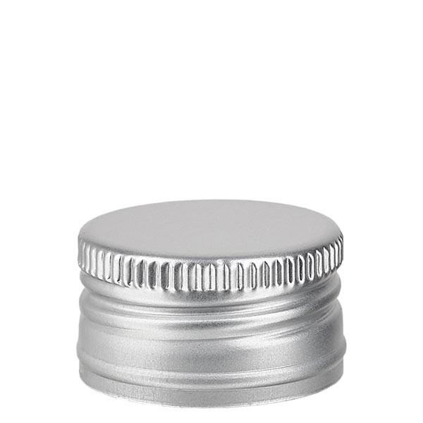 Schroefsluiting 24 mm zilver aluminium geribbeld met afdichtplaatje