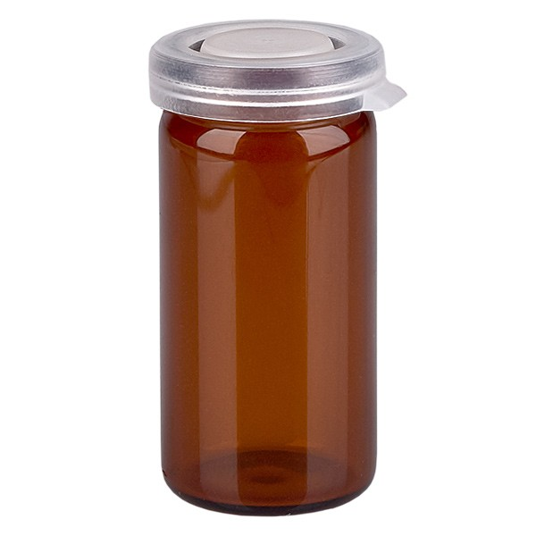 10ml tablettenglas bruin incl. klikdeksel (rolrand glas)