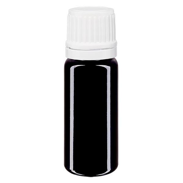Violetglas fles 10ml DIN 18 met wit druppelsluitig 1.2mm VR