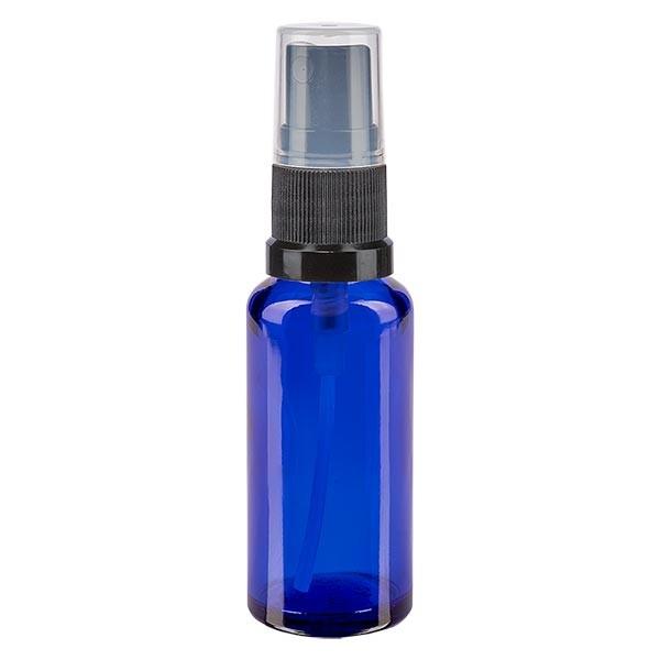 Blauwe glazen flessen 30ml met zwart pompverstuiver