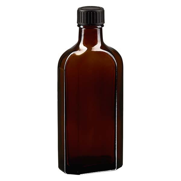 150 ml bruine meplatfles met DIN 22 monding, inclusief schroefsluiting DIN 22 zwart van EPE