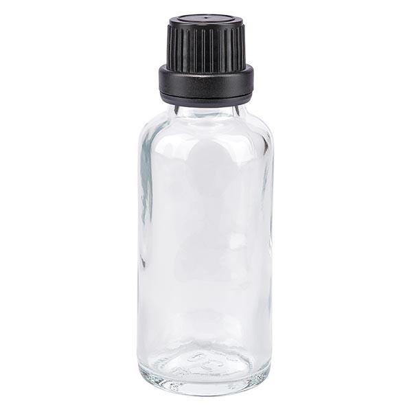 Helder glazen flessen 30ml met zwart schroefsluiting dicht. VR