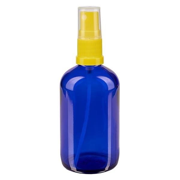 Blauwe glazen flessen 100ml met geel pompverstuiver